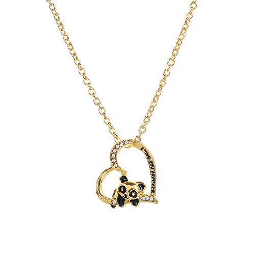 Lover Love Forever Cute Heart Animal Pendant Panda Collar Joyería Regalos (Oro)
