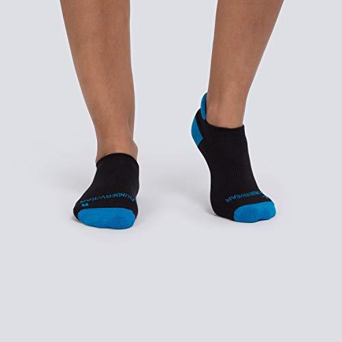 Runderwear Anti-Blister Running Socks - Low - Double-Layered, Performance Running Socks (Black/Cyan, X-Large (UK 11.5-13))