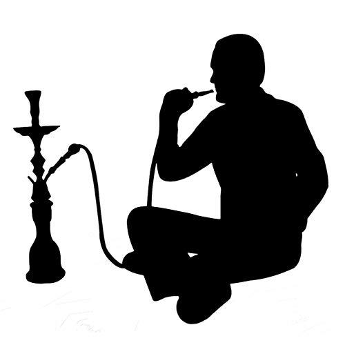 SIENJIA Pegatinas de coche Pegatinas de motocicleta 18,2 cm * 16,8 cm Hookah fumar árabe café Shisha pegatinas de vinilo calcomanías negro / plateado 2 piezas