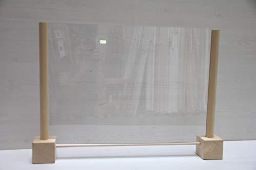 Barriera protettiva con profili in legno e base rialzata per passa documenti vetro sintetico. Misura massima cm. 80x58 misura visiva plexiglass cm. 67x50. Made in Italy