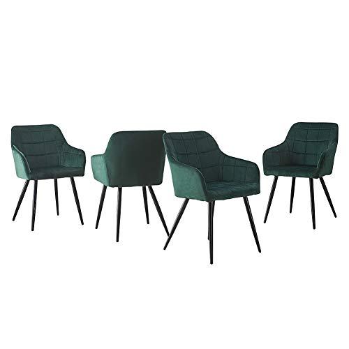 CLIPOP Esszimmerstühle 4er Set Grün Samt Küchenstuhl Polsterstuhl Retro Design Armlehnstuhl mit Rückenlehne Sessel und Metallbeine