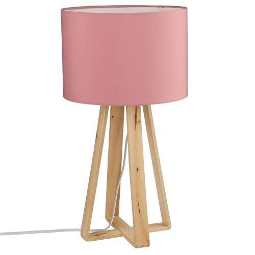 Stehlampe mit Lampenfuß aus Naturholz - Lampenschirm in ROSA