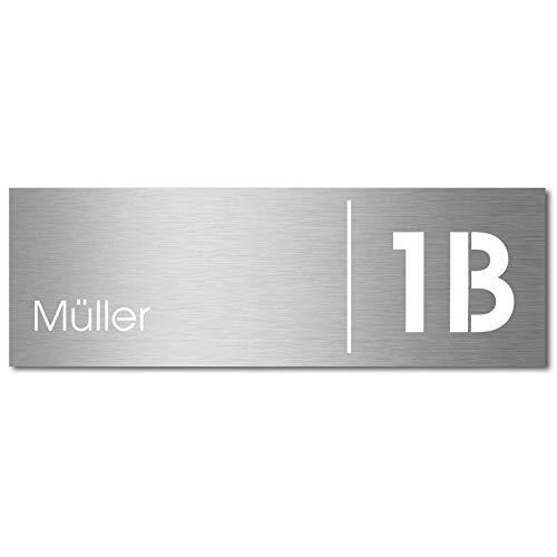 MOCAVI Stick 230 Briefkastenschild mit Hausnummer und Namen Edelstahl V4A graviert, groß, selbstklebend, modernes Design, passend für Box 500, 510, 570 und 580