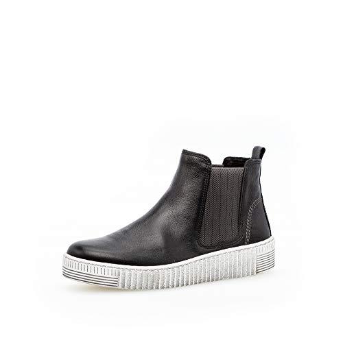 Gabor Damen Stiefeletten, Frauen Chelsea Boots,Best Fitting,Optifit- Wechselfußbett, uebergangsschuhe Gummi-Einsatz,schwarz/Grey(Smoky,40.5 EU / 7 UK