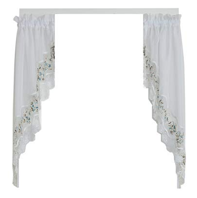 HCI Vintage Embroidered Sheer Kitchen Curtain - Blue (58' x 38' Long Swag Pair)