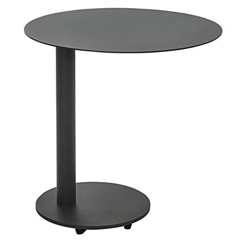 Dehner Beistelltisch Mika, Ø 50 cm, Höhe 50 cm, Aluminium, dunkelgrau