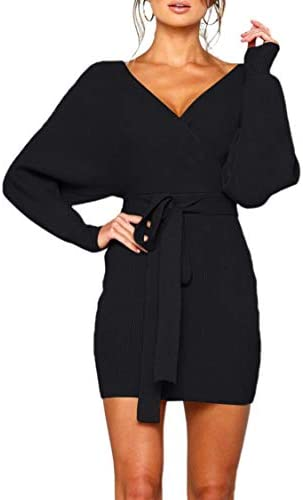 Zonsaoja Women s Sweater Mini Dress Long Sleeve Bodycon Wrap Knitted Dresses Black L product image