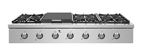 "NXR SCT4811 48"" Pro-Style Natural Gas Cooktop, Stainless Steel 1 6 German single-stack burner Featuring high power 18, 000 BTU burners for larger cookware. Simmer delicate sauces with low power 6, 000 BTU and everything in between 3 x heavy-duty flat cast-iron cooking grates to ease movement of large pots without having to lift them"
