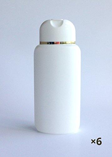 6 ovale Klappflaschen weiß mit Goldrand 200ml, Kosmetex leer zum Befüllen, Dusch Shampoo-Flasche, 6x m. Goldrand