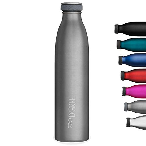 "720°DGREE Vaccum Insulated Water Bottle ""milkyBottle"" - 1litre - Leakproof, BPA-Free, Thermo Stainless Steel Flask - Sports, Gym, Fitness, School, Kids, Travel, Outdoor, Hot, Cold & Carbonated Drinks"