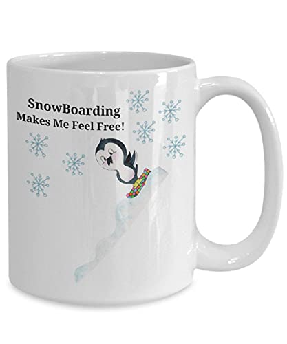 N\A Taza Snowboard pingüino de cerámica Personalizada Taza de té Blanco de Menen