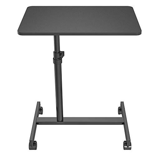 SpassWay Mesa para portátil con ruedas, de acero con placa de MDF, color blanco, negro, altura regulable, montaje rápido, altura regulable: 74 cm - 105 cm (negro)