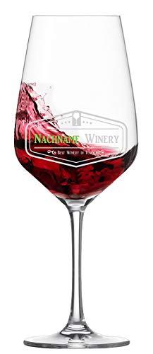 Rotweinglas mit Gravur eines Namens - bruchsicheres und patentiertes Tritanglas Taste von Schott Zwiesel - Kristallglas individuell mit einem Namen zum ausgewählten Logo graviert
