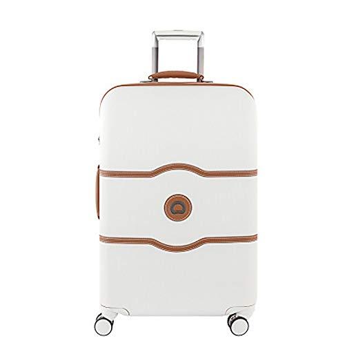 YLiansong Hartschalen-Koffer Rollkoffer Reisekoffer Trolley Kratzfeste Koffer Retro mit Leder Koffer mit Bremse Räder Boarding-Fall Stilvoller Reisekoffer (Farbe : Weiß, Größe : 55×35×25CM)