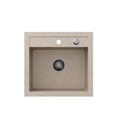 VBChome Spülbecken 50 x 47 cm Beige Spüle Einzelbecken Küche Einbauspüle Verbundspüle Küchenspüle gesprenkelt flächenbündig + Siphon Waschbecken