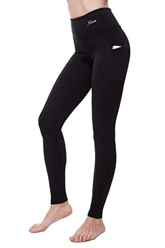 NIRLON Leggings with Pockets High Waisted Workout Yoga Pants for Women Plus Size (2XL, Black)