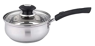 Uniware Stainless Steel 1.0 Quart Saucepan with Glass Lid for All Kitchen Use (1.0 Quart)