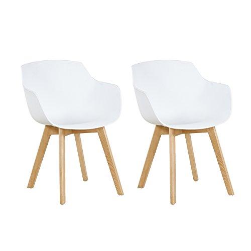 EGGREE 2er Set Esszimmerstühle Skandinavisch mit Armlehne und Starke Buche Stuhlbeine, Modern Design Sessel für Büro Küche Wohnzimmer, Weiß