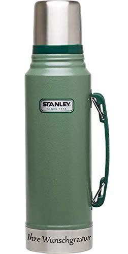 Stanley Classic Vakuum Flasche - 1 Liter – Edelstahl – grün, mit Namensgravur