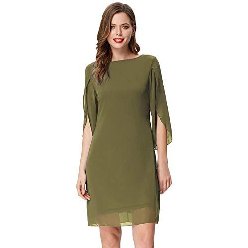 Damen Sommer Chiffon Kleid 3/4 Ärmel Loose Fit Elegant Midi Abendkleid XL Armeegrün CL11125-2