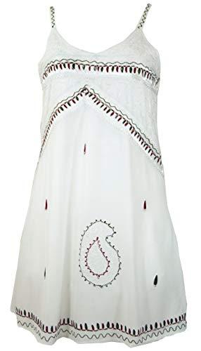 GURU-SHOP, haftowana indyjska mini sukienka boho, tunika hipisowska, biała, syntetyczna, rozmiar: 14, krótkie sukienki