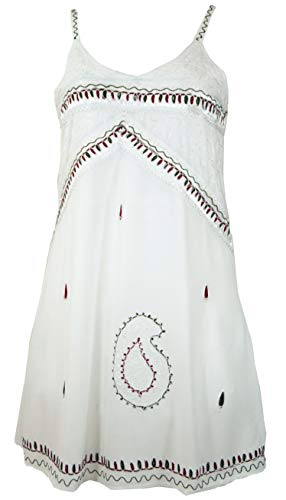 Guru-Shop Besticktes Indisches Kleid, Boho Minikleid, Damen, Weiß Design 1, Synthetisch, Size:40, Kurze Kleider Alternative Bekleidung