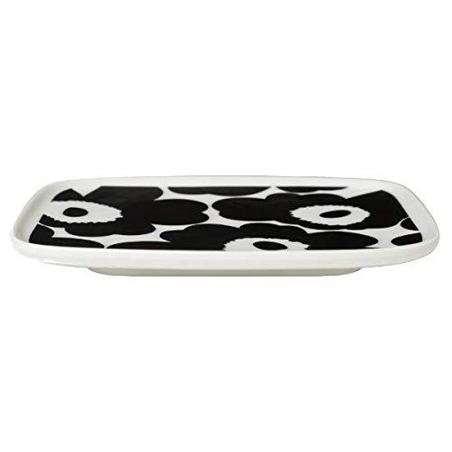 Marimekko - Teller, Platte - Unikko - Steingut - weiß / schwarz - 12 x 15 cm