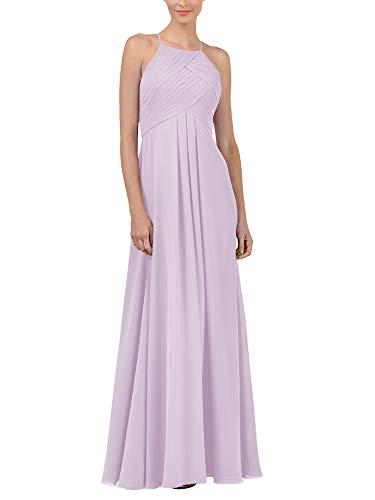 Alicepub Chiffon Lilac Bridesmaid Dresses Long Formal Party Dress for Women Prom Evening Halter, US6
