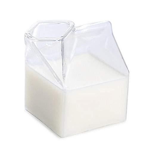 Yorimi Mini-Milchkarton, Milchglas-Tasse, Milchbox-Form, Glas, Milchkarton-Behälter, transparent, unregelmäßige Tasse, 250 ml