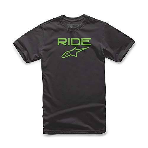 Alpinestars Juvy Ride 2.0 t-Shirt Logo Manches Courtes Coupe Moderne Garçon, Noir/Vert, FR : L (Taille Fabricant : L)