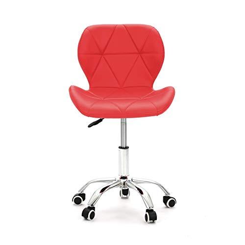 Silla de oficina ajustable acolchada para ordenador de trabajo, ergonómica, patas cromadas, silla de oficina giratoria, color rojo