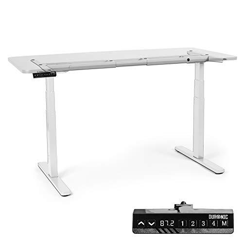 Duronic TM23 We Telaio per scrivania Elettrico - Altezza Regolabile 60-125 cm - Postazione di Lavoro ergonomica – Funzione Memoria - 3 Livelli - Meccanismo Doppio di Sollevamento - Bianco