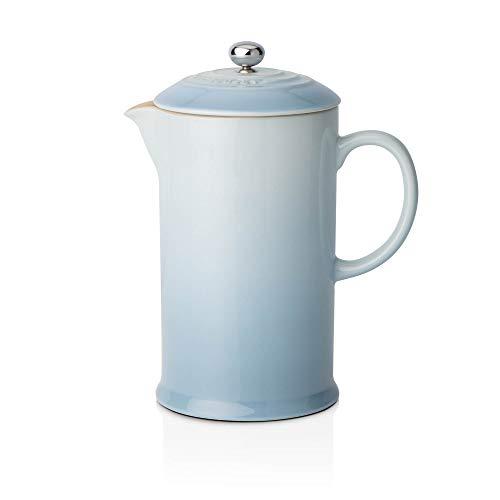 Le Creuset Kaffee-Bereiter/French Press mit Edelstahl-Presseinsatz, 800 ml, Steinzeug, Meeresblau (Hellblau)