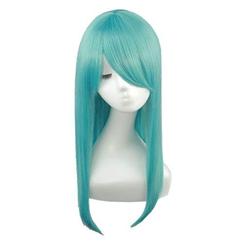 [富士達] ウィッグ コスプレ フルウィッグ ロング ウイッグ ストレート 青 緑 青髪 自然 さらさら 耐熱 かつら ウイッグ セミロング ネット 付き LML60-T4825の拡大画像