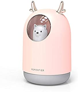 SR T.C Humidifiers, 300ml Cool Mist Humidifier, USB Mini Humidifiers for Bedroom for Room Car Night Light Air Humidifier (Color : Pink)