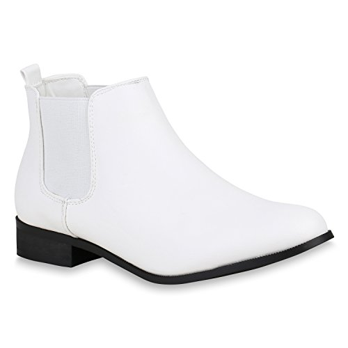 Chelsea Boots Damen Holzoptikabsatz Stiefeletten Leder-Optik 156716 Hellgrau Cabanas 38 Flandell