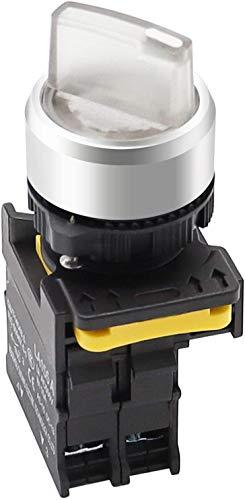 Tnisesm - Interruptor selector giratorio (10 A, 600 V, 110 – 220 V, 22 mm, 1 NO 2 posiciones, impermeable, IP65, 10 A, 600 V, LA155-A1-10XD-W