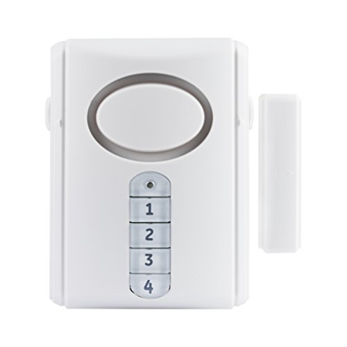 GE Deluxe Wireless Door, 120 Decibel, Alarm or Entry Chime, Indoor Personal Security, with Keypad...