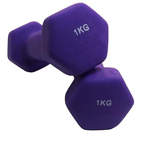 Natural Logistics Par de Mancuernas de Neopreno de 1 kg- Musculación-Gimnasio en casa-Mancuernas, Pesas hexagonales de Goma-Deporte en casa-Mancuernas 1kg-Vida Fitness. Kottao