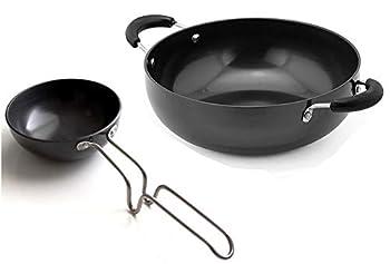 Hindalco Aluminium Cookware Pan Size No-13 with Hindalco Aluminium Tadka Pan Fry Pan  Size No-5 Combo Set of 2,Aluminium Kadai with Tadka Pan,Indian Frying Pan/kadai,color-Black