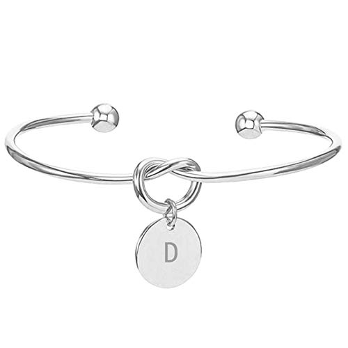 DirkFigge Bangles Cuff Bracelets Fashion Initial Jewelry Alloy Letter Charm Bracelets for Women Bridesmaid Friendship Gifts Tie The Knot Bow-Knot