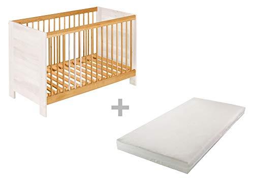 BioKinder 24843 economy set Niklas zijbed kinderbedje met matras van massief hout 60 x 120 cm elzenhout en wit geglazuurd