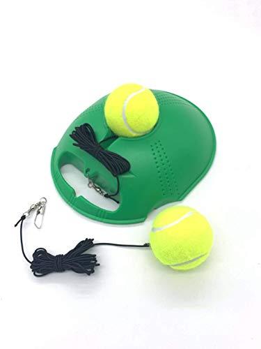 TaktZeit Self Tennis Trainer Tennis Rebound Tennis Training Gear with 2 String Balls… Green 2 Ball