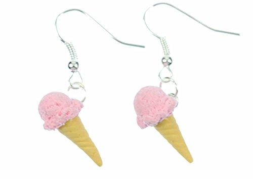 Eis Waffeleis Ohrringe Hänger Miniblings Eiscreme Eisohrringe Erdbeere rosa