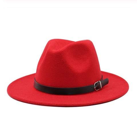 Invierno Otoño Mujeres Hombres Señoras Fedoras Top Jazz Hat Gorras Redondas Bombines-red-size55-58cm