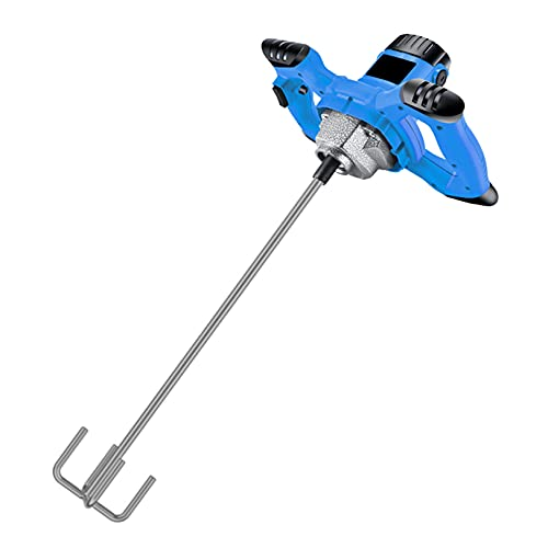 Cement Mixer Paddle Stirrer Stainless Steel Drill Aaitator Paint Blender Whisk for Mixed Plaster/Mortar/Glue/Adhesive, 3-stage Reduction Gear,Pole length 50cm
