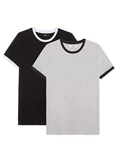 Marca Amazon - find. Camiseta Hombre, Pack de 2, Multicolor (Grey Marl/Black), XL, Label: XL