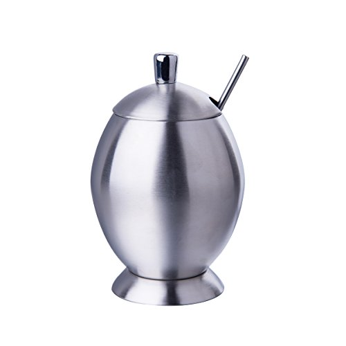 IMEEA Small Sugar Bowl with Lid and Spoon for Home Kitchen SUS304 Brushed Stainless Steel 9.8 Ounces (290 Milliliter)