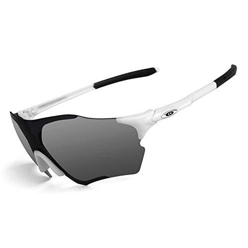 OPEL-R Gafas de Sol Hombre Sin Marco Polarizadas Oakley Jawbreaker, MTB Gafas de Ciclismo a Prueba de Viento TR90 para Deportes al Aire Libre,WhiteBlack
