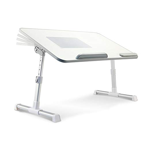 Foldable Bed Tray Lap Desk Best Adjustable Laptop Cooling Stand Perfect for Eating Breakfast, Reading Book, Working,Watching Movie On Bed/Couch/Sofa/Floor,with Cooling Fan